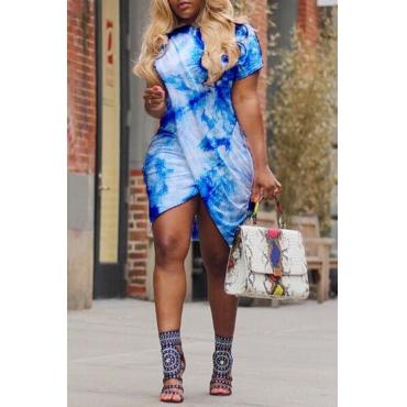 Lovely Casual Round Neck Printing Irregular Light Blue Polyester Mini Dress