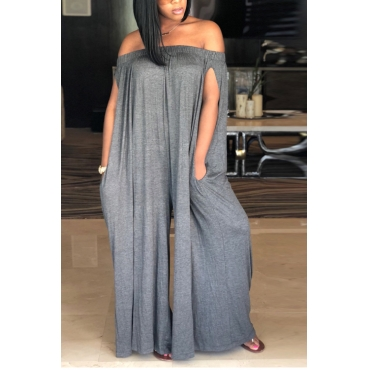 Lovely Casual Dew Shoulder Grey Cotton Blends One-piece Jumpsuit