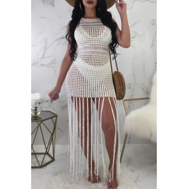 Lovely Casual Round Neck Hollow-out Fringe Tassels White Polyester Ankle Length Dress(Without Subcoating)