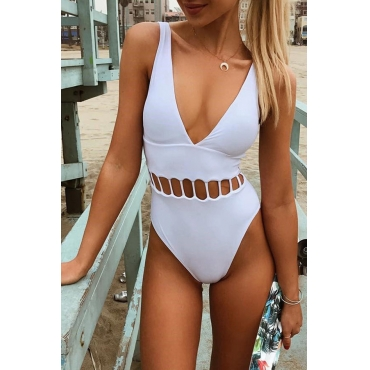 Lovely Pretty V Neck Hollow-out White Polyester One-piece Swimwears