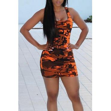 Lovely Casual U Neck Camouflage Printed Cotton Blend Sheath Mini Dress