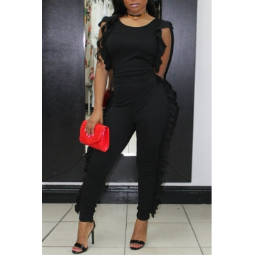 Lovely Casual Round Neck Ruffle Design Black Blending One-piece Jumpsuits