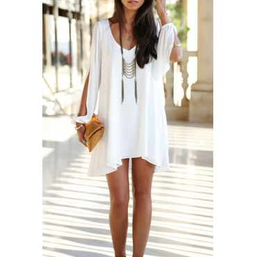 Lovely Fashion V Neck Cuff Split White Chiffon Mini Dress