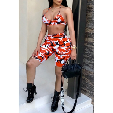 Lovely Sexy Printed Orange Knitting Two-piece Shorts Set