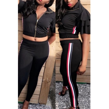 Lovely Casual Zipper Design Black Twilled Satin Two-piece Pants Set