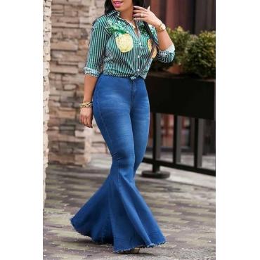 LovelyTrendy High Waist Flared Deep Blue Denim Zipped Jeans
