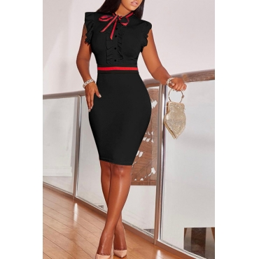 LovelyFashion Round Neck Ruffle Design Black Blending Sheath Knee Length Dress