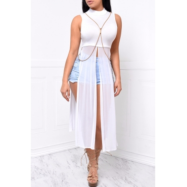 Lovely Daily Round Neck Side Slit White Qmilch Shirts