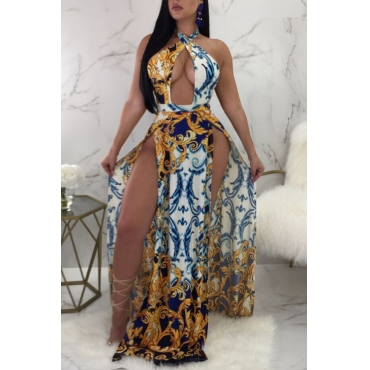 Lovely Sexy Printed Hollow-out Blending Floor Length Dress