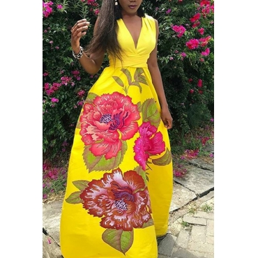 Lovely Bohemian V Neck Printed Yellow Polyester Floor Length Dress