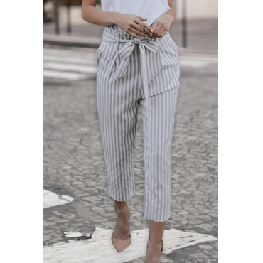 Lovely Fashion Mid Waist Striped Grey Blending Pants(With Belt)