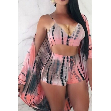 LovelyCasual V Neck Printing Pink Polyester Two-piece Shorts Set(With Coat)