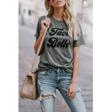 Lovely Casual Round Neck Letter Printed Cotton Blends T-shirt