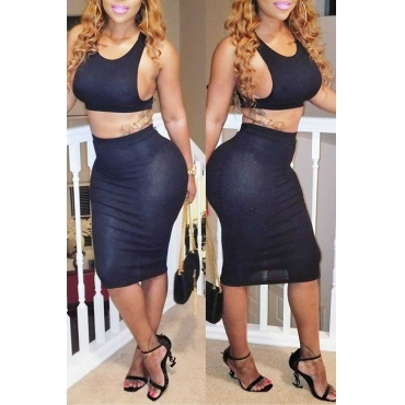 Lovely Sexy Hollow-out Black Polyester Two-piece Skirt Set