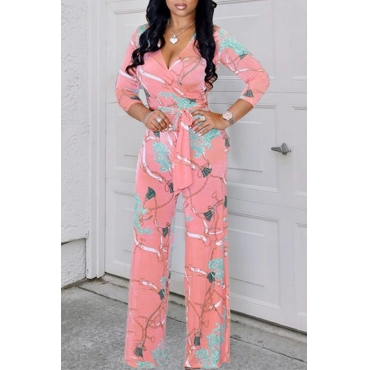 Lovely Fashion V Neck Printing Pink Polyester One-piece Jumpsuits