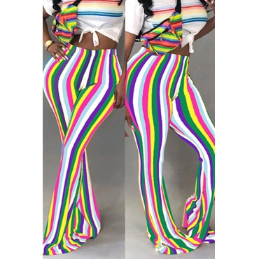 Lovely Trendy Hight Waist Colorful Striped White Polyester Pants