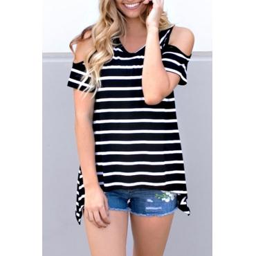 Lovely Casual V Neck Striped Black Cotton Blends T-shirt