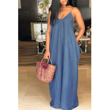 LovelyFashion V Neck Blue Denim Floor Length Dress
