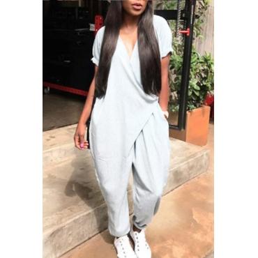 LovelyChic V Neck Short Sleeves Grey Polyester One-piece Jumpsuits