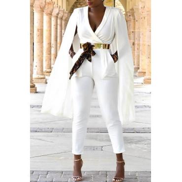 Lovely Work V Neck Cape Design White Twilled Satin One-piece Jumpsuits