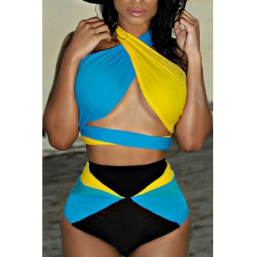 Lovely Fashion Patchwork Polyester Two-piece Swimwears