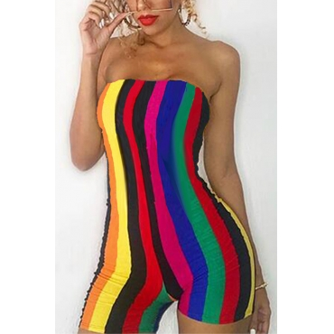 Lovely Fashion Dew Shoulder Striped Polyester One-piece Short Jumpsuits