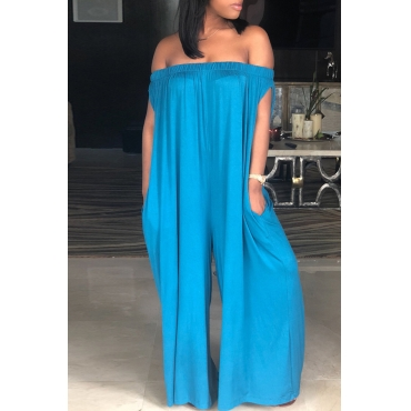 Lovely Casual Dew Shoulder Blue Cotton Blends One-piece Jumpsuit