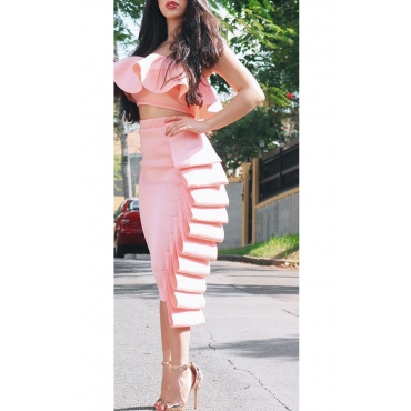 Lovely Fashion Bateau Neck Ruffle Pink Polyester Two-piece Skirt Set