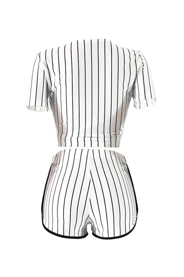 LovelyCasual V Neck Letter+Striped Printed White Qmilch Two-piece Shorts Set
