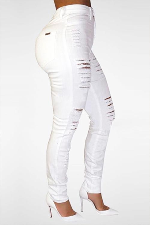 LovelyTrendy High Waist Broken Holes White Denim Skinny Jeans