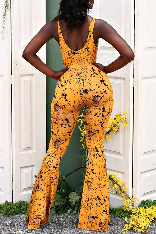 5c946769b06b Lovely Street U Neck Printing Croci Spandex One-piece Jumpsuits