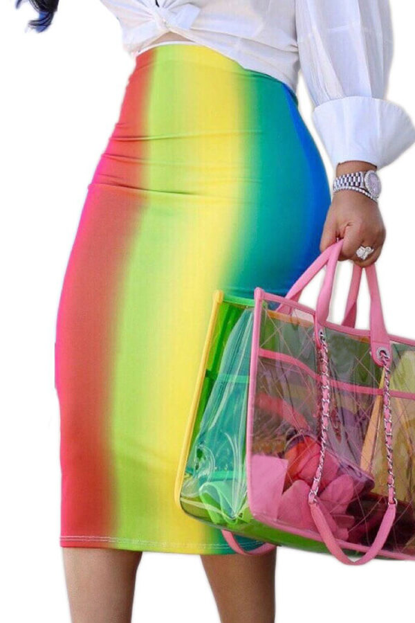 Lovelysexy Rainbow Impreso Faldas Media Pantorrilla