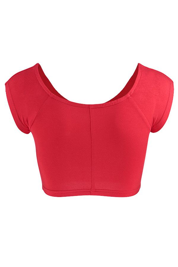 Lovely Sweet V Neck Crossed Design Red Cotton Blends  T-shirt