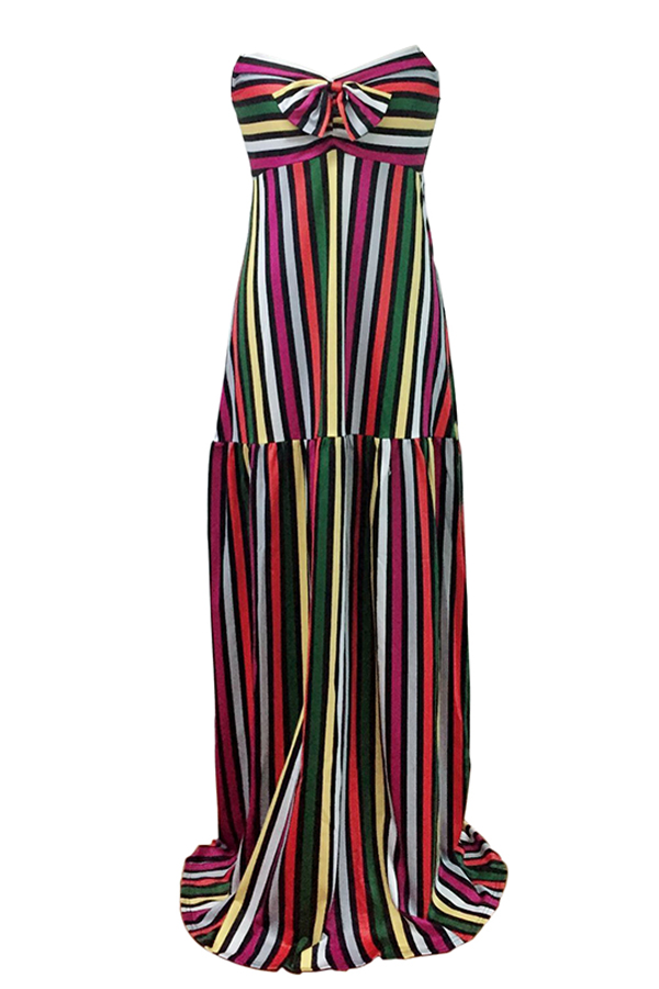 Lovely Bohemian Dew Shoulder Bow Colorful Striped Qmilch Floor Length Dress