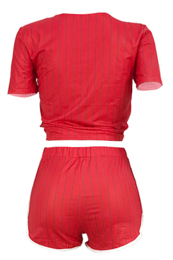 LovelyCasual V Neck Letter+Striped Printed Red Qmilch Two-piece Shorts Set
