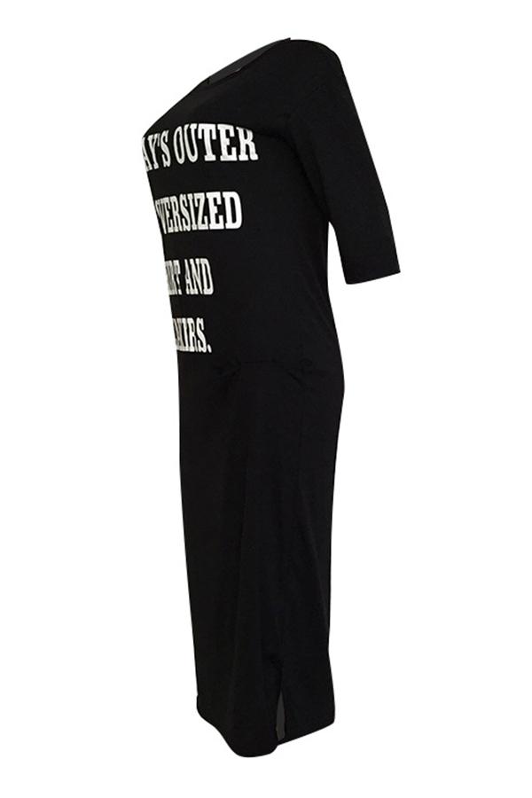 Lovely Casual Round Neck Letter Printed Black Blending Mid Calf Dress
