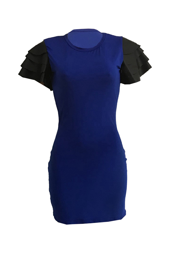 Lovely Casual Round Neck Flounce Dark Blue Qmilch Mini Dress