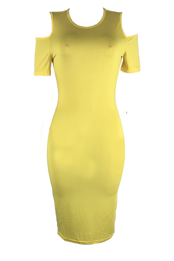 Lovely Casual Round Neck Cold-shoulder Yellow Qmilch Knee Length Dress