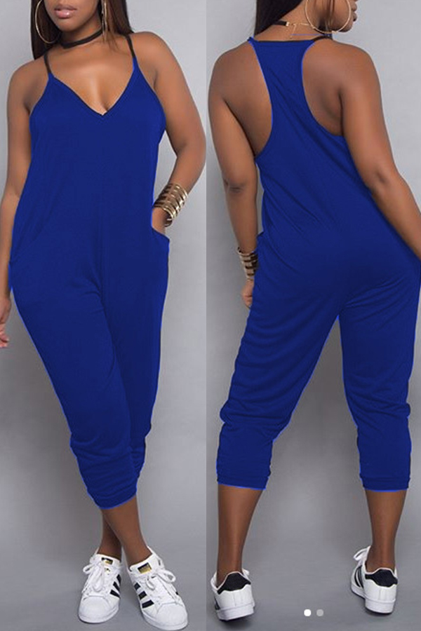 LovelyFashion V Neck Pocket Design Blue One-piece Jumpsuits
