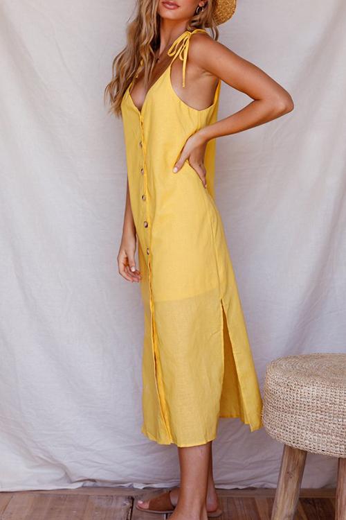 Lovely Casual V Neck Buttons Slit Hem Yellow Blending Mid Calf Dress