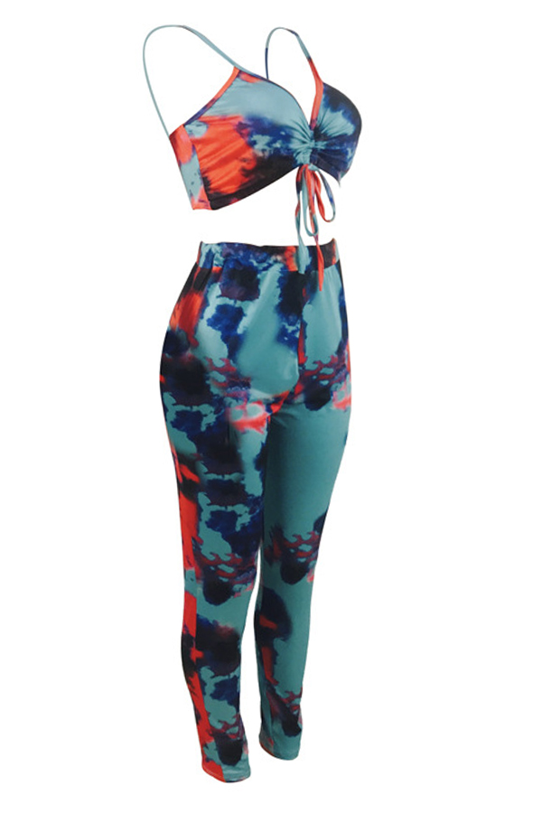 Lovely Euramerican Tie-dyed Two-piece Pants Set