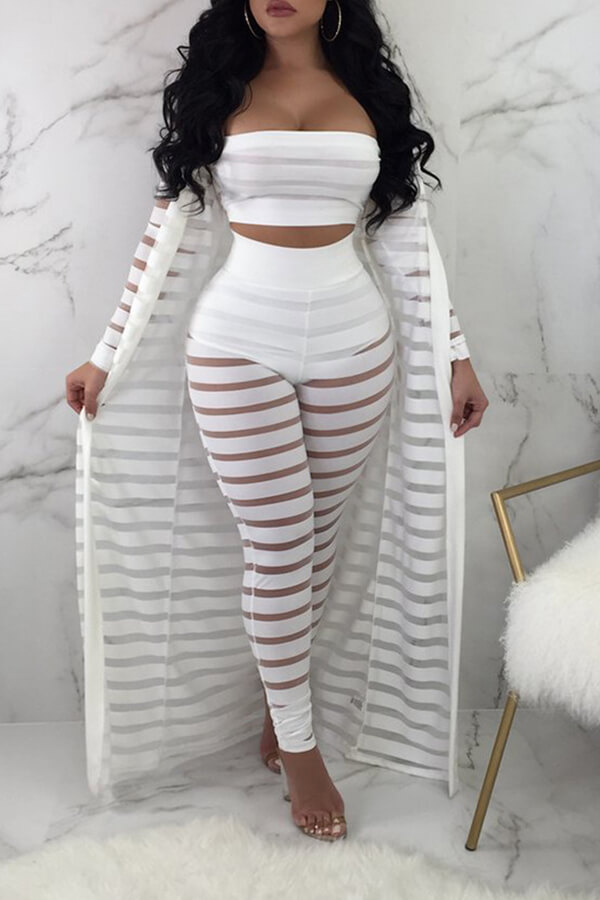 Lovely Sexy  Hollow-out White Three-piece Pants Set