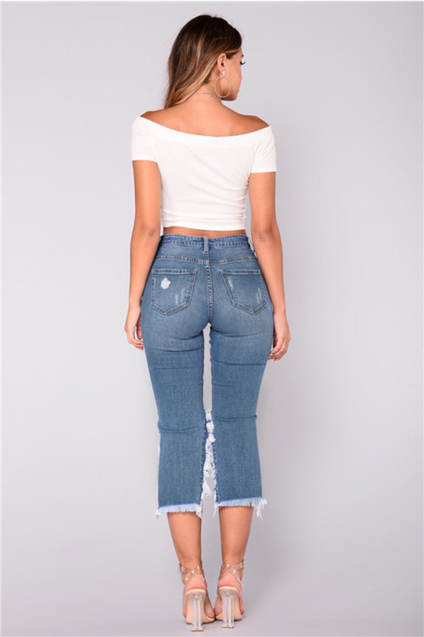 Lovely Trendy Asymmetrical Blue Denim Jeans