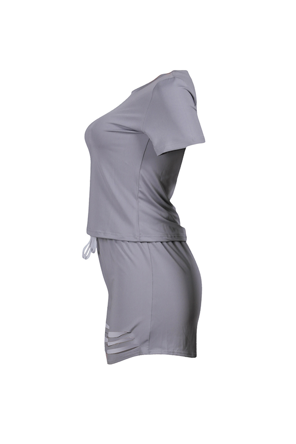 LovelyLeisure Round Neck Hollow-out Grey Blending Two-piece Shorts Set