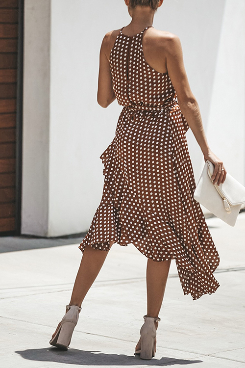 Lovely Fashion Round Neck Dot Printed Flounce Coffee Polyester Ankle Length Dress