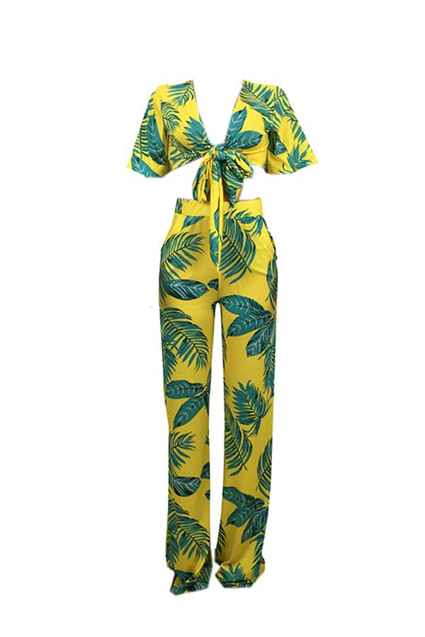 Lovely Euramerican Printed Yellow Two-piece Pants Set