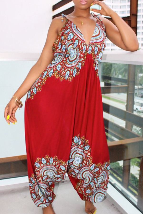 Lovely National Style Totem Printed Red One-piece Jumpsuit