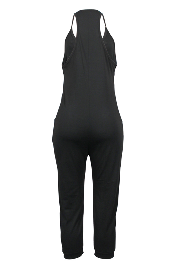 Lovely Fashion V Neck Pocket Design Black One-piece Jumpsuits