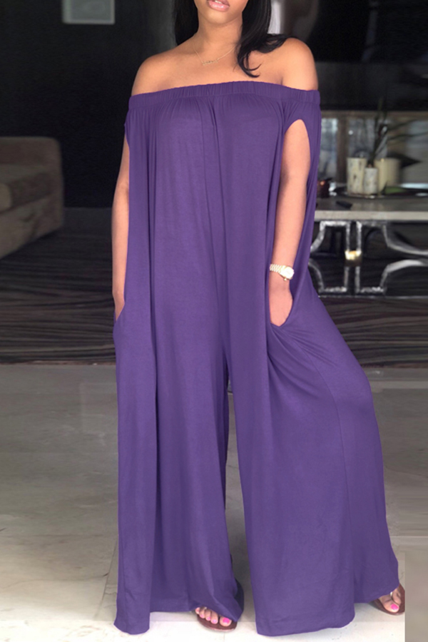 LovelyCasual Dew Shoulder Purple Cotton Blends One-piece Jumpsuit