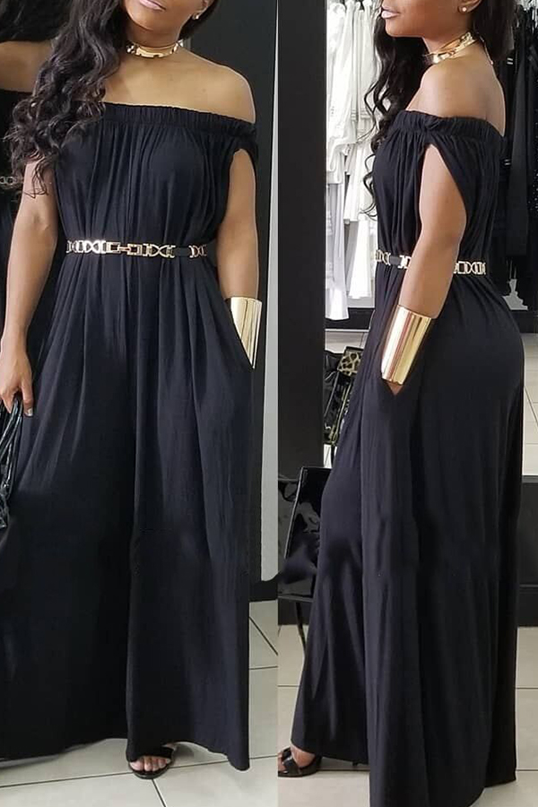 LovelyCasual Dew Shoulder Black Cotton Blends One-piece Jumpsuit